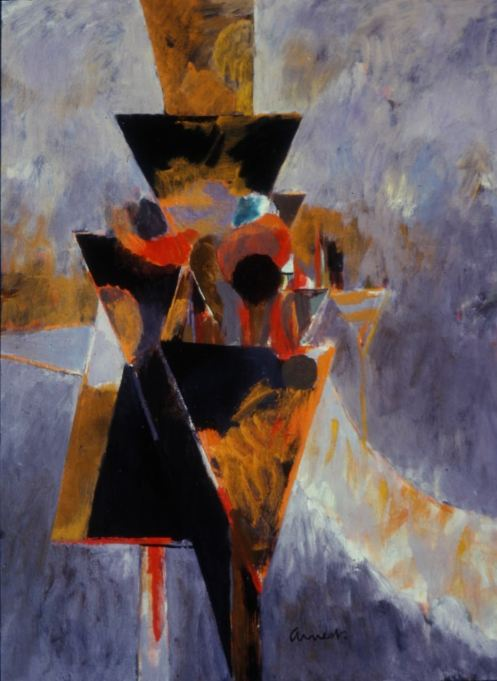 Bernard Arnest Signals, Orange:Black 36x27 oil:masonite